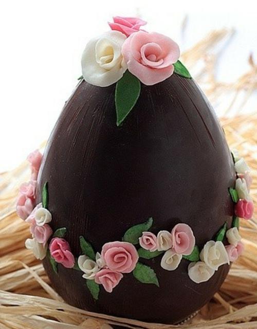 ostereier aus schokolade zuckerrosen weiß rosa