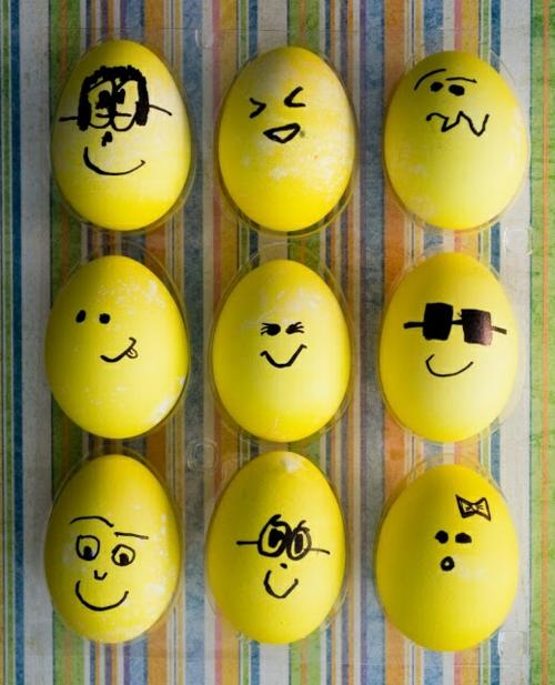 ostereier gesicht gelbe eier