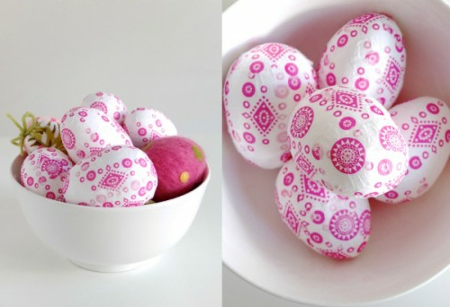 ostereier mit serviettentechnik papier decoupage pink