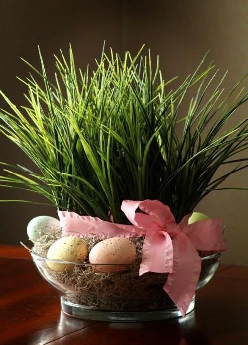 ostern dekoration frisch festlich ostereier hasen küken frisch farben schüssel blumen