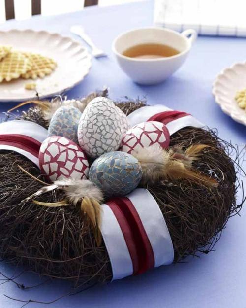ostern dekoration frisch festlich ostereier hasen küken wachtel gelb frisch farben schüsse