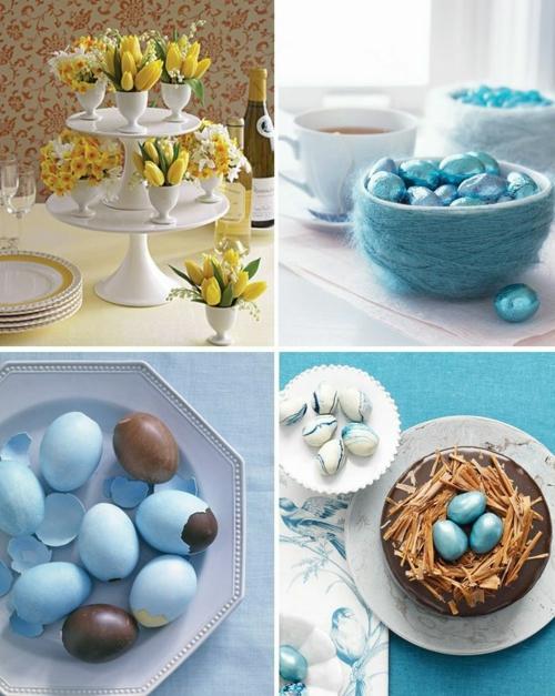 ostern dekoration frisch festlich ostereier hasen küken wachtel gelb frisch farben schüssel-blumen-vasen-frühjahr