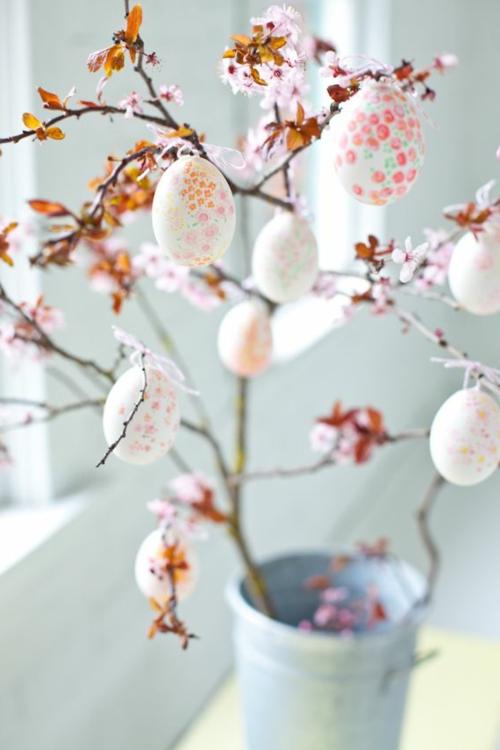 ostern dekoration frisch festlich ostereier hasen küken wachtel gelb frisch farben schüssel-blumen-vasen-frühling
