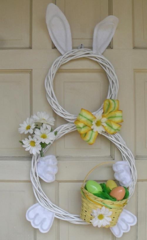ostern dekoration frisch festlich ostereier hasen küken wachtel gelb kranz