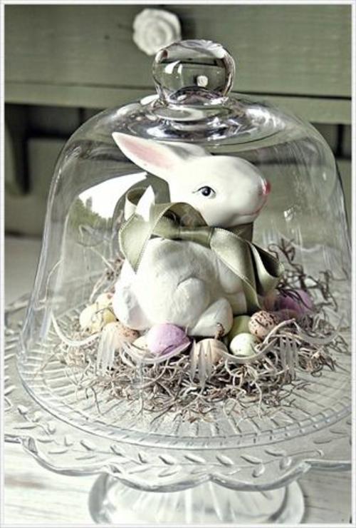 ostern dekoration frisch festlich glas deckel osterhase keramisch