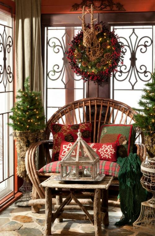 professionelle Dekokissen Muster kranz licht weihnachten