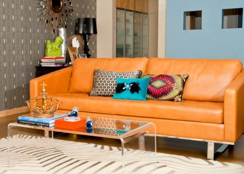 professionelle Dekokissen Muster sofa leder orange