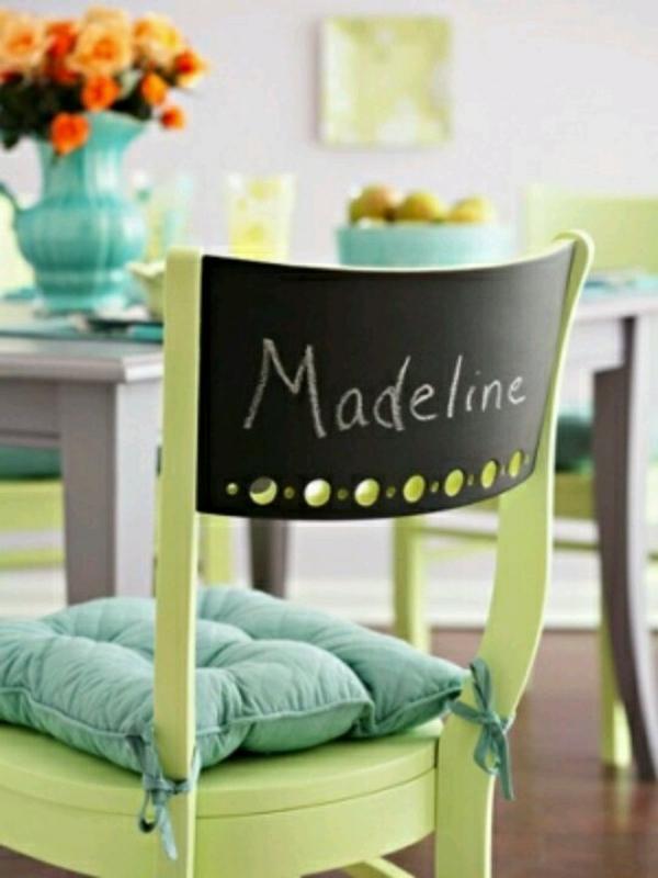 rücklehne stuhl grün auflagen schwarz tafel