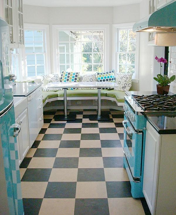 retro-küche bodenbelag schachmatt muster