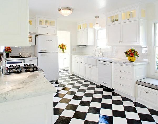 Retro Küche Bodenfliesen Schachmatt Schwarz Weiß