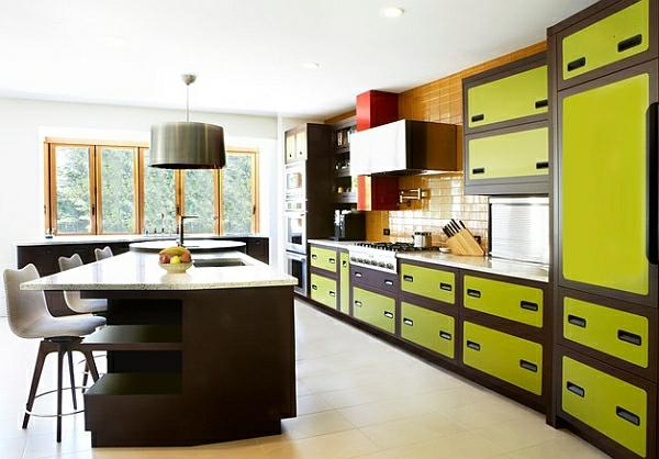 retro-küche gelbgrüne schränke kücheninsel