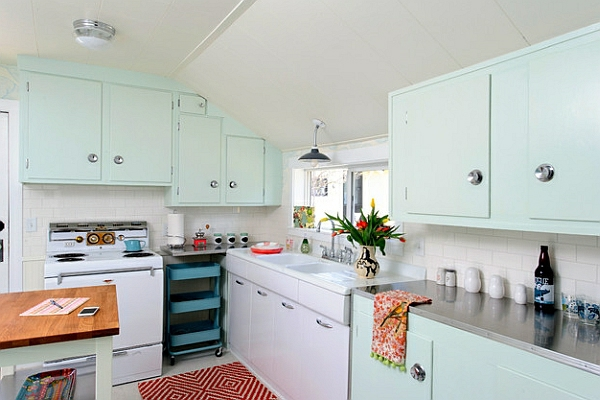 retro-küche geometrisch gemusterter teppichläufer