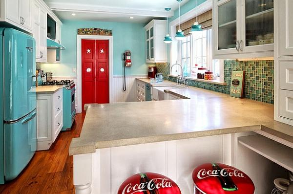 retro-küche l förmiges design granit rote tür