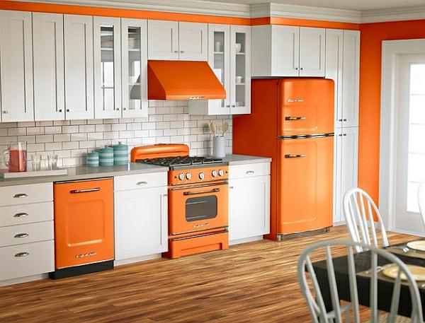retro küche orange küchentechnik kühlschrank herd abzugshaube