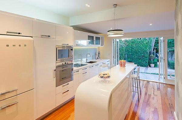 retro-küche ovale weiße kücheninsel