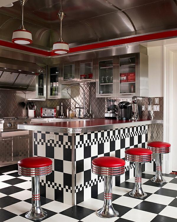 retro-küche schachmatt rote barhocker