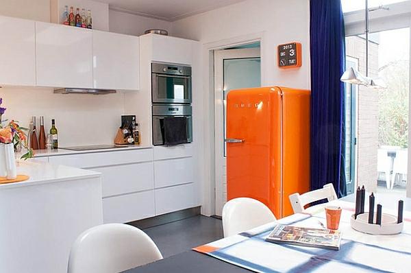 retro-küche smeg kühlschrank orange