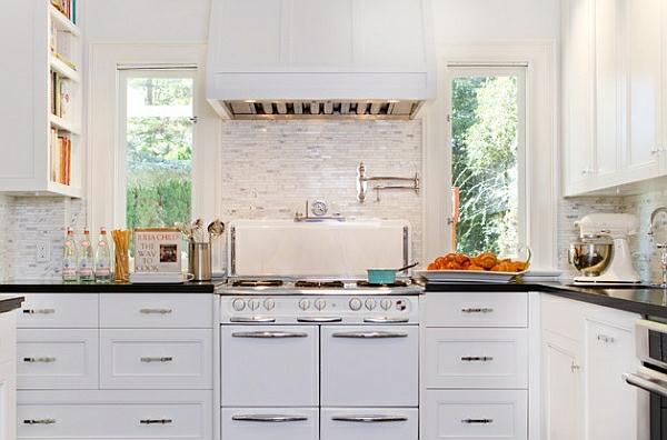 retro küche weiße küchenschränke