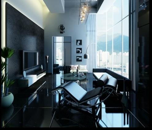 schöne Wohnzimmer Ideen einrichten fenster wand schwarz leder