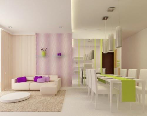 schöne Wohnzimmer  einrichten grün tischläufer frisch