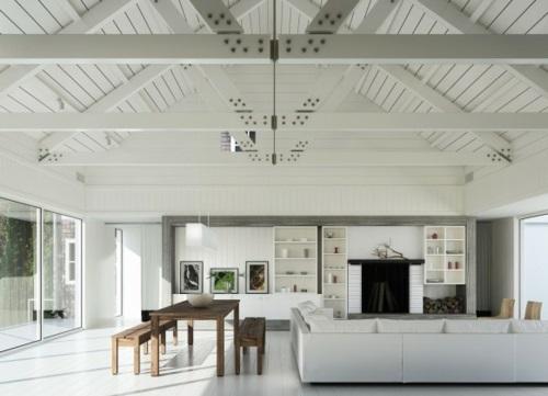 schöne Wohnzimmer Ideen einrichten minimalistisch weiß