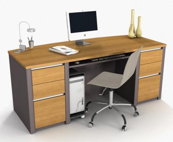 schreibtisch design buchenholz metallenes zubehör