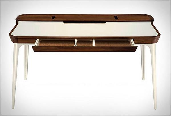 tisch design minimalistisch weiß holz schublade