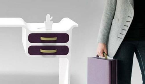 schreibtische büro schubladen lila farbe oberfläche haltegriff