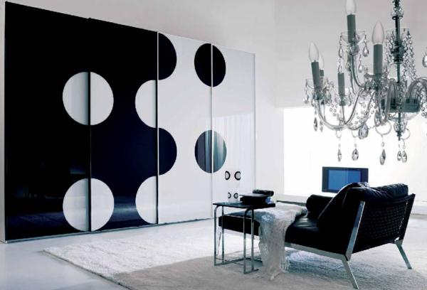 schwarz weiß kleiderschrank originell modern