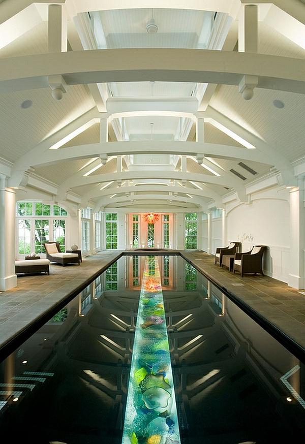 schwimmbad zu hause buntes glas