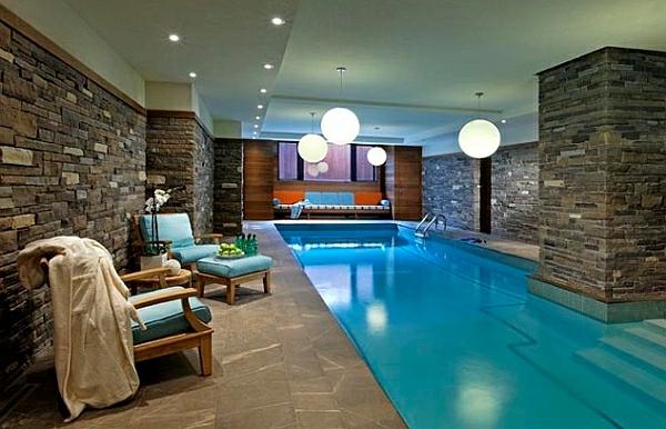 schwimmbecken zu hause naturstein wände