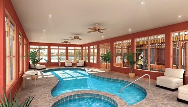 schwimmbecken zuhause natursteinplatten sessel deckenventilator