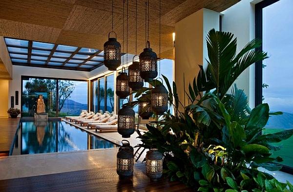 schwimmbecken zu hause orientalische laternen