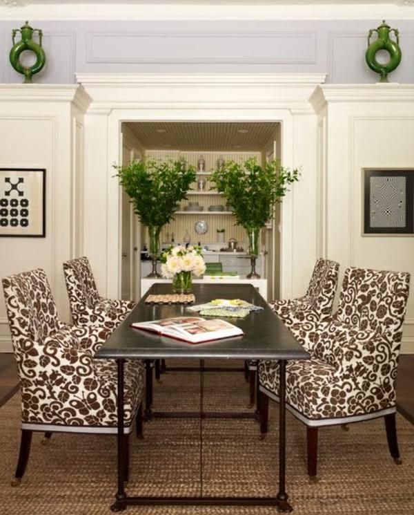 Awesome Stuhlhussen Esszimmer #6: Stuhl Hussen Sisalteppich Florale Muster Braun