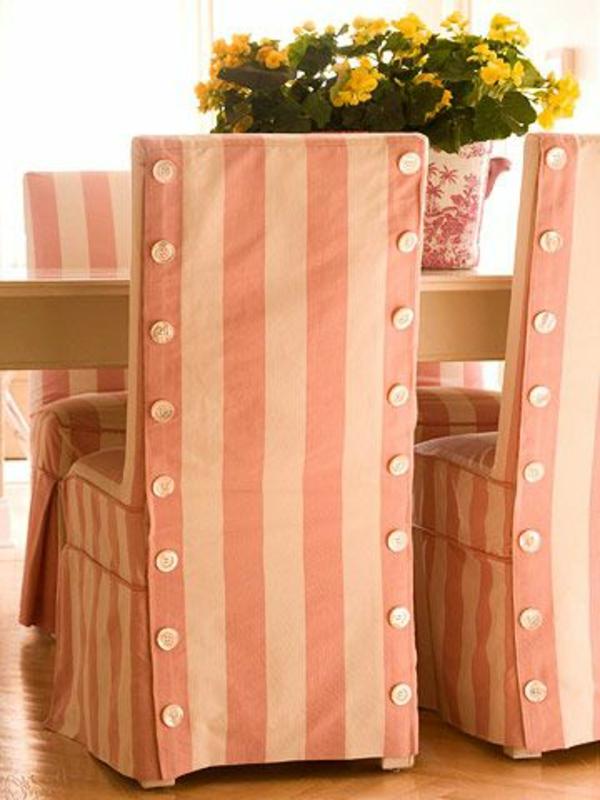 stuhl hussen streifen creme rosa