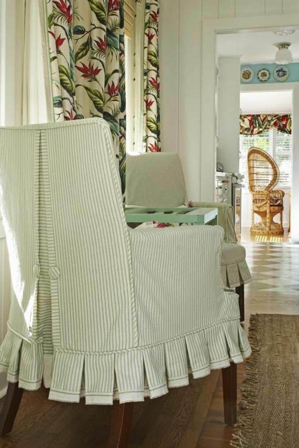 stuhl hussen vintage feine streifen weiß grün