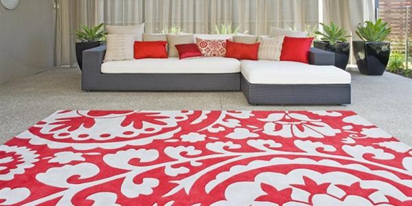 teppich ideen rot weiß muster