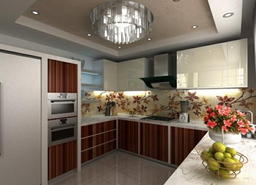 ergonomische küche küchenrückwand florale muster