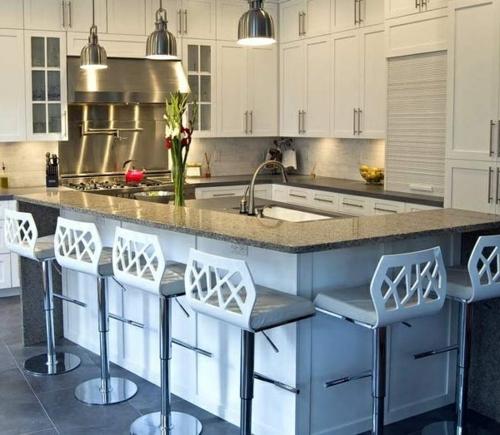 ergonomische küche metallene pendelleuchten barhocker