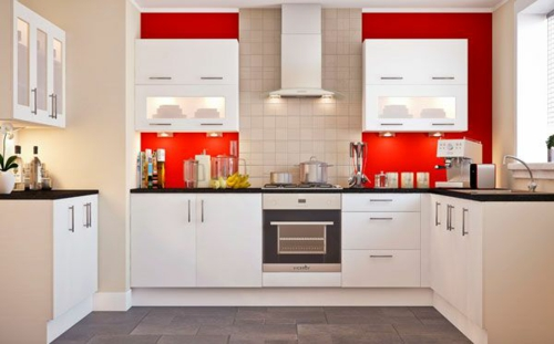 ergonomische rote wände weiße schränke