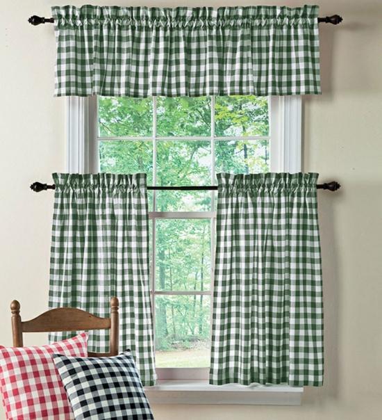karo stoff grün deko vorhänge