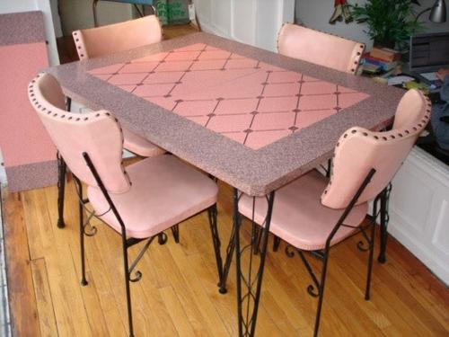 vintagetische rosa polsterung schmiedeeisen beine