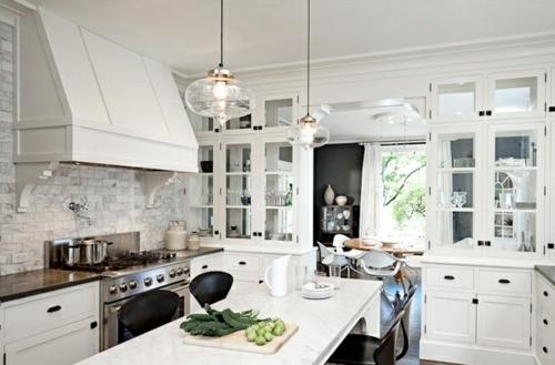 weiß einrichtung küche transparent lampenschirm
