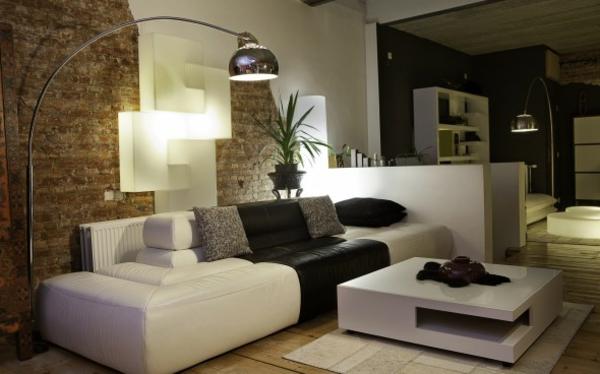 Wohnzimmer Tapete Bogenlampe Ziegelwand Optik