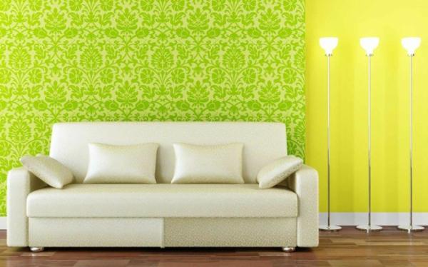 wohnzimmertapete gemustert neongrün zitronengelb