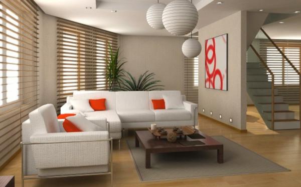 wohnzimmer-tapete holz jalousien weiße couch sessel