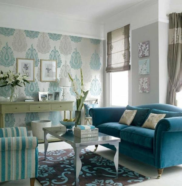 tapete wohnzimmer ideen:wohnzimmer tapete verwaschenes Blau Retro-Muster