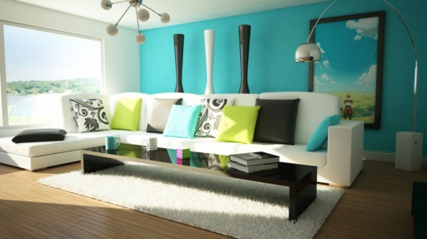 wohnzimmer-tapete türkis weiß hochflor teppichläufer