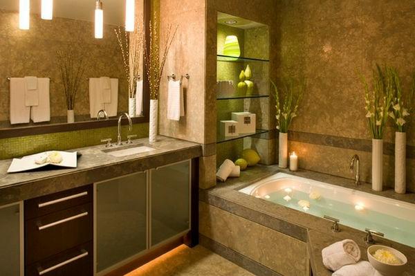 Badeinrichtung mit Stil dachfenster regale wand mosaik spiegelfliesen