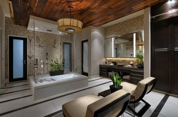Badeinrichtung mit Stil holz bodenbelag nebentisch liegen